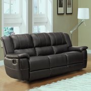 Tribecca Home Griffin Black Bonded Leatr Oversized Double Recliner Sofa by