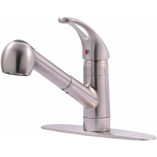 Ultra Faucets UF12003 Stainless Steel Single Handle Kitchen Faucet With  Pull Out Spray