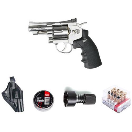 "ASG Dan Wesson Revolver Pellet Air Gun with Holster Cartridges Extra BBs Speed Loader, Silver, 2.5"" by Action Sport Games"