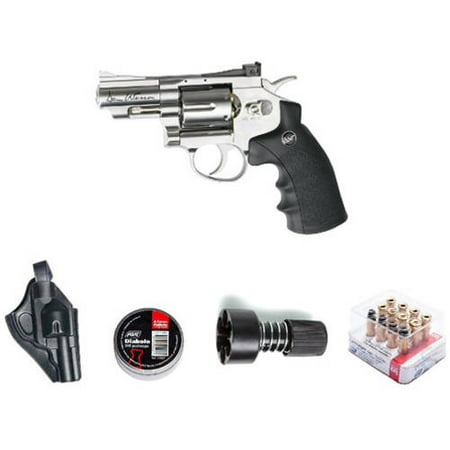 ASG Dan Wesson Revolver Pellet Air Gun with Holster/Cartridges/Extra BBs/Speed Loader, Silver, 2.5