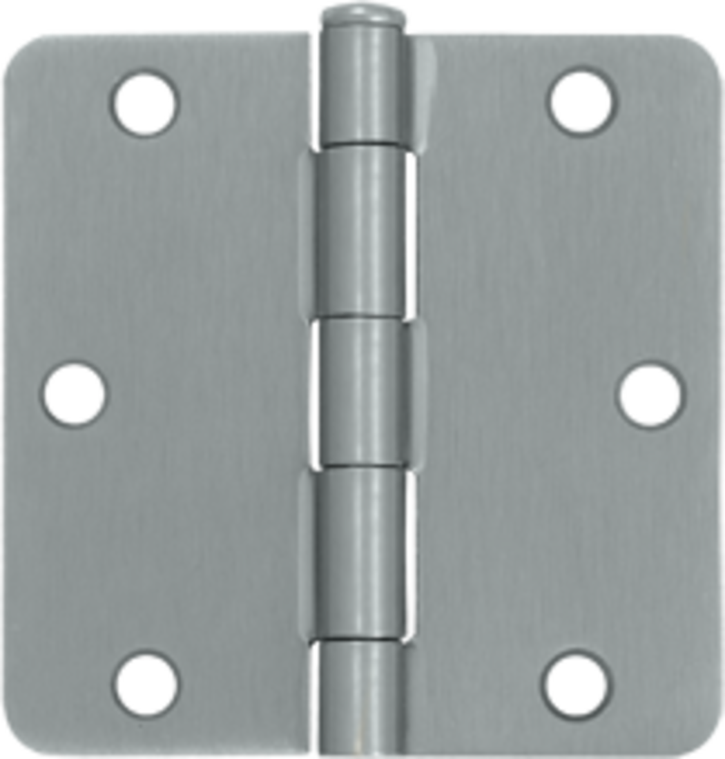 "3-1/2 x 3-1/2 Plain Bearing 1/4"" Radius Corner Full Mortise Hinge - Pair Satin Chrome"
