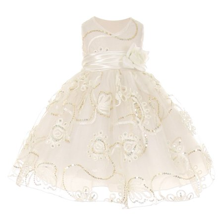 Little Girls Ivory Tulle Embroidery Sequins Flower Girl Dress 4T