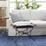 """Decmode - Scrolled Metal and Black Leather Stool, 31"""" x 21"""""""