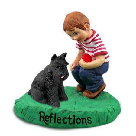 RBD13A Schnauzer Black Reflections w/Boy Figurine