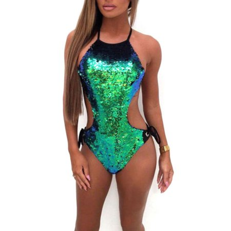 532e366662 Women Sequin Swimsuit Beachwear Swimwear Push-up Monokini Bikini Bathing  Suit - Walmart.com