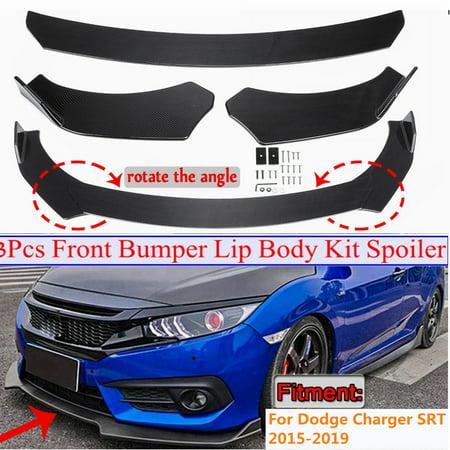 3X Front Bumper Lip Body Kit Spoiler Splitter Carbon Fiber Look For Dodge Charger SRT 2015-2019 (Instruction Not Included)