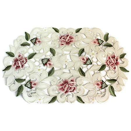Doily Boutique Place Mat or Doily Embroidered with Light Pink Cut Work Roses, Size 11 x 17 - Pink Paper Doilies