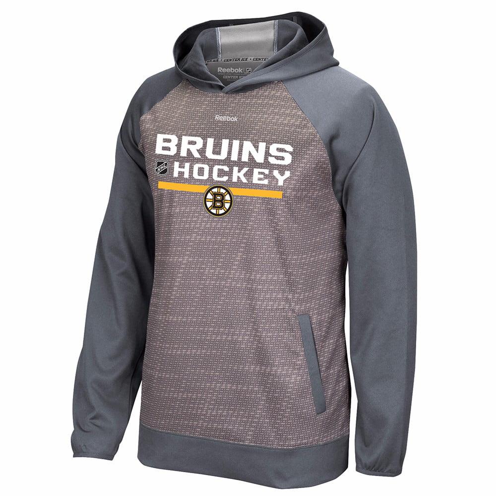 Boston Bruins NHL Reebok Grey Center Ice TNT Team Logo Speedwick Performance Pullover Hoodie For Men