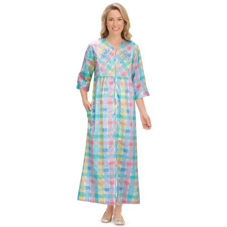 Women's Pastel Plaid Lounger Zipper House Dress with Side Pockets & Embroidered Yoke, Medium, Multi