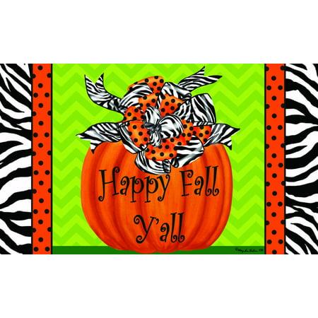 18 Inch Floor Tom - Whimsical Zebra Design Pumpkin Happy Fall Y'all 18 X 30 Inch Floor Mat Rug