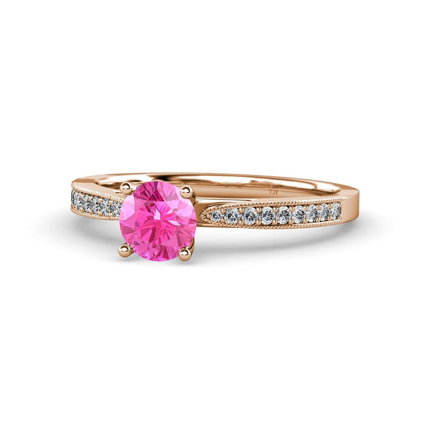 Pink Sapphire and Diamond Engagement Ring with Milgrain Work 1.13 cttw in 14K Rose Gold.size 8.5 by TriJewels