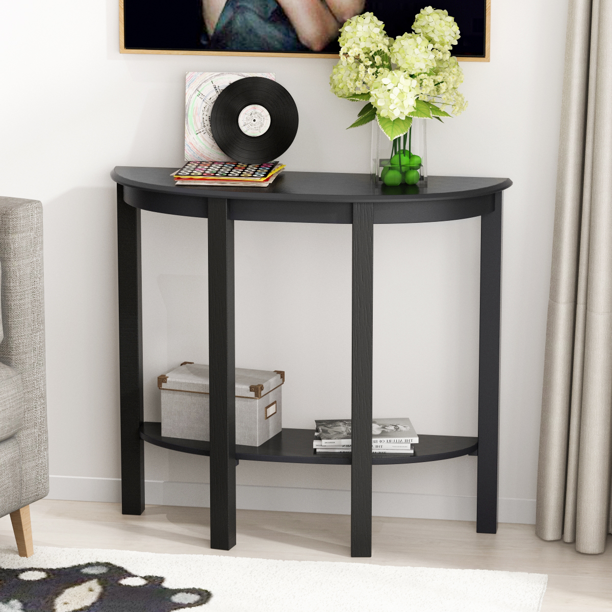 Picture of: Console Table Sofa Table For Entryway Semi Circle Sofa Side Table With Shelves And Solid Wood Legs 2 Tier Entry Table For Hallway Living Room Bedroom Espresso Walmart Com Walmart Com