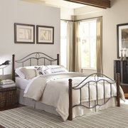 Cassidy Complete Metal Bed and Steel Support Frame with Sloping Horizontal Rails and Dark Walnut Wood Color Finial Posts, Mink Finish, Full