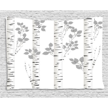 Birch Tree Tapestry  Artistic White Branches With Leaves Autumn Nature Forest Inspired  Wall Hanging For Bedroom Living Room Dorm Decor  80W X 60L Inches  Light Grey Black White  By Ambesonne