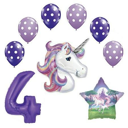Lavender Unicorn Polka Dot Latex Rainbow 4th Birthday Party Balloon supplies and decorations](Polka Dot Decorations Birthday)