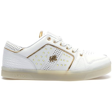 Low Leather Sneakers - Vlado Footwear Lyte II Men's LED Light Low Top Leather Sneakers IG5801-01 White