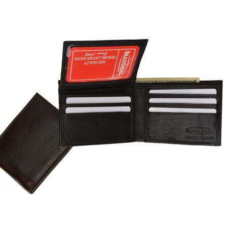 Soft Lambkin Leather Removable Flap ID Card Holder Bifold Wallet 1143 (C) Black