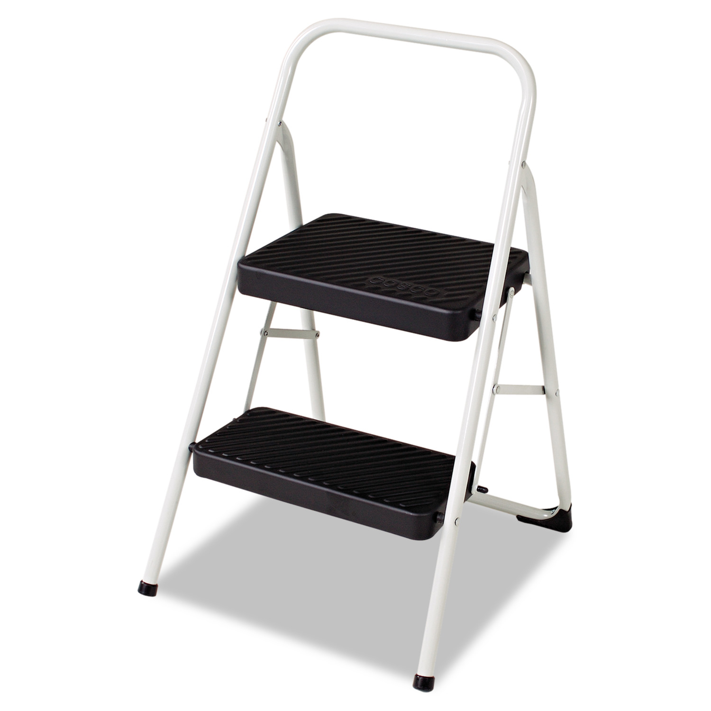 Cosco 2-Step Folding Steel Step Stool, 200lbs, 17 3/8w x 18d x 28 1/8h, Cool Gray