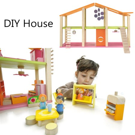 DIY Large Wooden Dollhouse With Full Furniture Building Blocks Set Toys For Girls Kids Birthday New Year Gifts 27.56 x 10.63 x