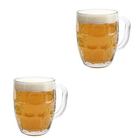 2 Pack Dimple Pub Stein Glass Beer Mug - 16 Oz. Tankard Beer Mugs