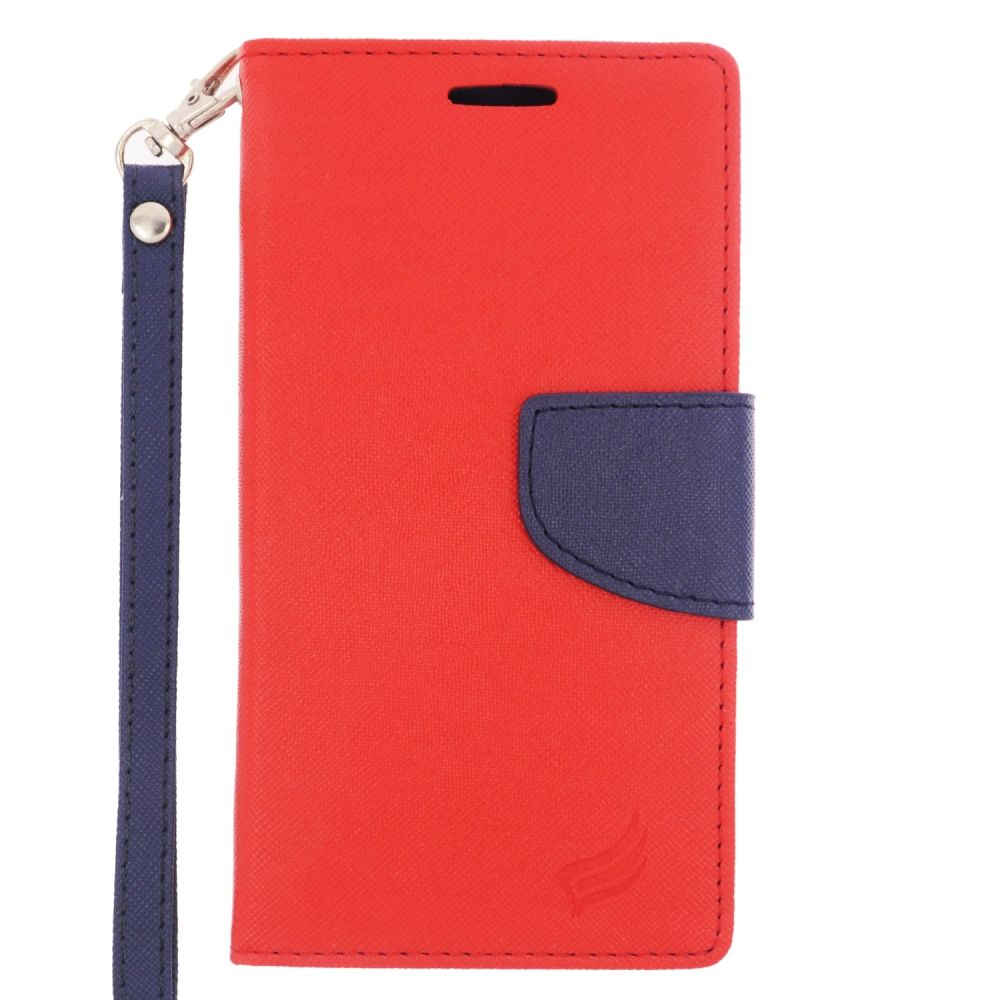 samsung flip phone red. insten flip leather fabric stand credit card case lanyard for samsung galaxy s6 - red/blue phone red k