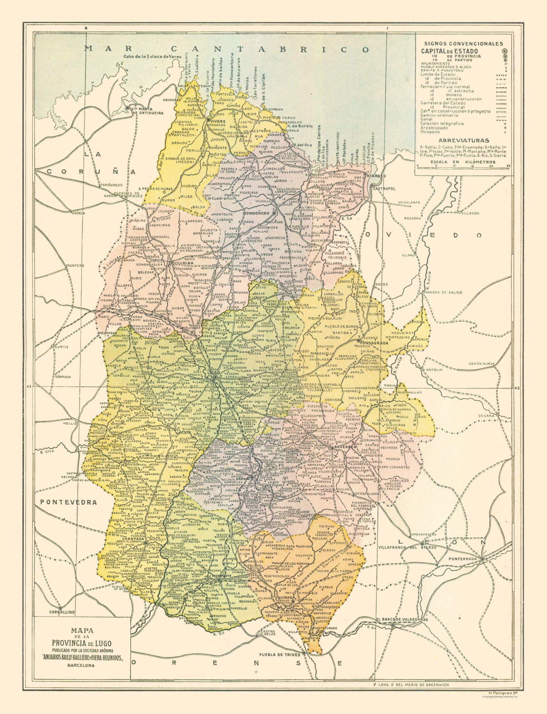 Map Of Spain By Province.International Map Lugo Province Spain Pompido S Atlas 1913 23