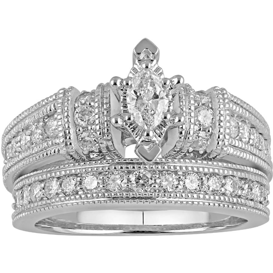 1 Carat Diamond Marquise Bridal Set in 10Kt White Gold by
