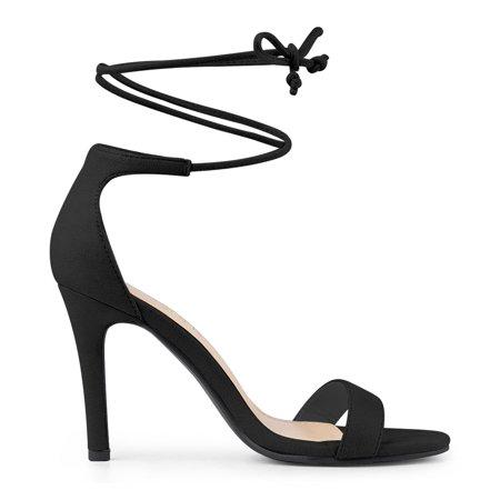Allegra K Bride à la cheville des femmes des sandales habillées talon aiguille Noir 38.5 EU - image 2 de 7