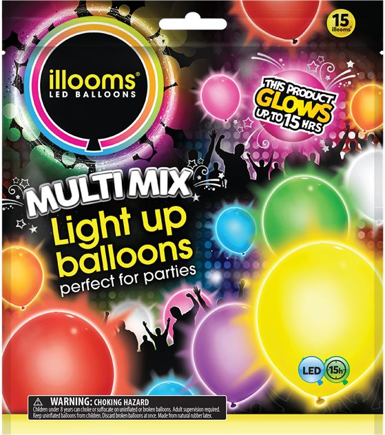 2 Illooms LED Mixed Color Light Up Balloons x5 Pack LOT OF TWO