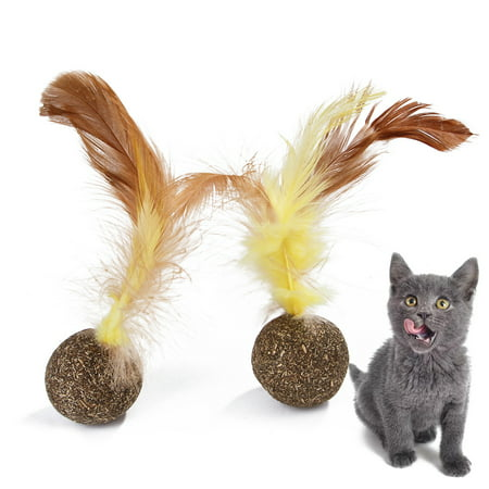 Natural Catnip Mint Cat Ball Cat Feather Treat Ball Toy Cat Scratcher Ball Motion Activated Teeth Cleaning Grinding Playing Chasing Chew Claw Toy