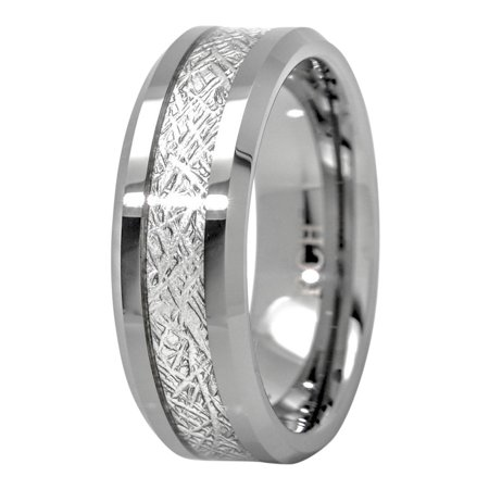 Meteorite Ring Tungsten Carbide for Men 8mm Comfort Fit Wedding Band - Mens Tungsten Carbide Band