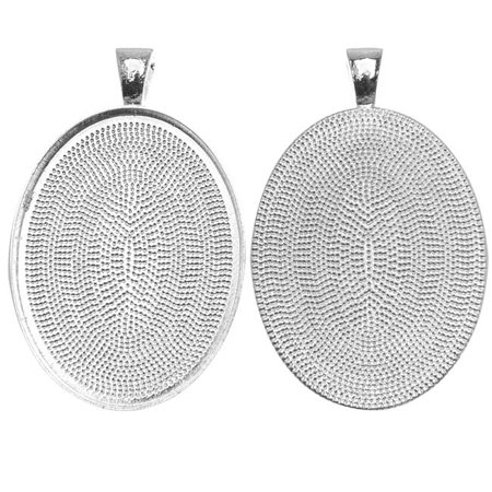 - Silver Plated Oval Bezel Pendant 30mm x 40mm (1)