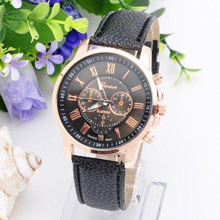 Environmental Friendly Fashion Brand Men Male Casual Stylish Romen Numerals Faux Leather Quartz Watch Montre Watches Black - image 2 of 6