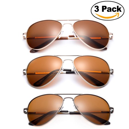 3 Pack - Polarized Night Vision Driving Glasses Yellow Amber Lens & Day Time Driving Sunglasses Copper Lens-Classic Aviator Style Glasses with Comfortable Spring Hinge Fit for Most (Asian Fit Aviators)