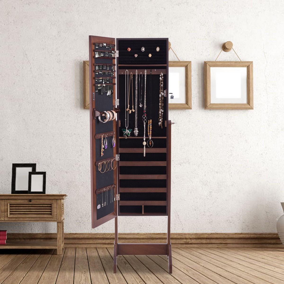 Freestanding Mirrored Armoire Storage Jewelry Cabinet
