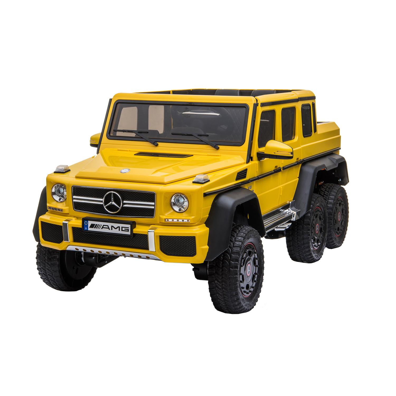 Kool Karz Mercedes Benz G63 Amg 6x6 12v Electric Ride On Toy Car Yellow Walmart Com Walmart Com