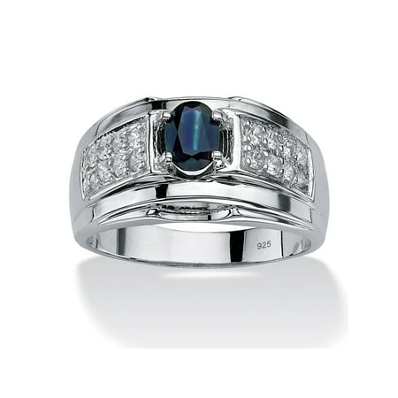 Men's 1.53 TCW Oval-Cut Genuine Midnight Blue Sapphire and Cubic Zirconia Ring in Sterling (Blue Sapphire Cubic Zirconia Ring)