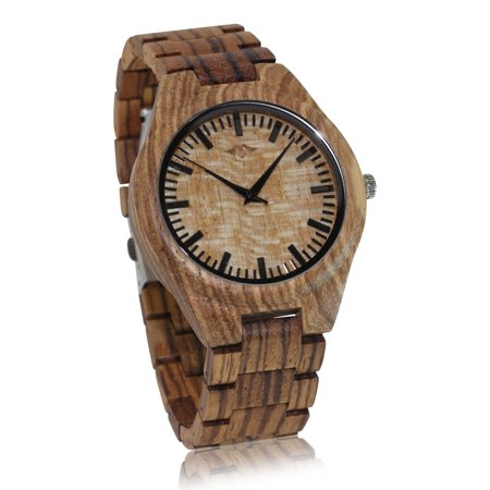 Angie Wood Creations Zebrawood Men's Watch with Zebrawood Band and Bamboo Dial - image 2 de 7