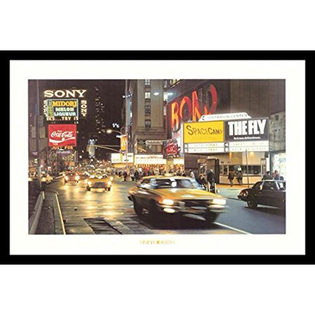 buyartforless FRAMED Criterion Center - Times Square - New York City by Davis Cone 36x24 Art Print Poster - Photorealism Painting