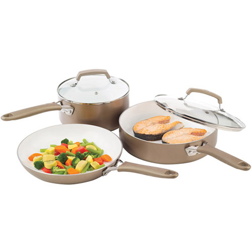WearEver Pure Living 5-Piece Non-Stick Cookware Set, Champagne