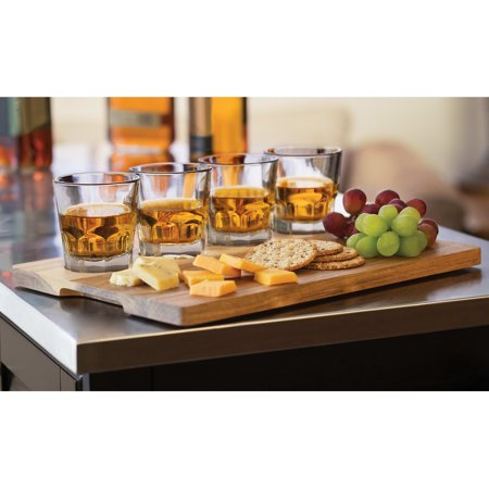 Libbey Craft Spirits Whiskey Flight Glass Set with Wood Carrier, 4 Glasses Libbey Fluted Whiskey Glass