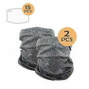 WeGuard Set of 2 Bandana Face Neck Gaiter Balaclava for Women and Men with 15 pcs Carbon Filters,Gray