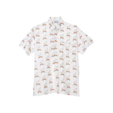 What on Earth Men's Unicorn Print Camp Shirt - Short Sleeve Button Down -