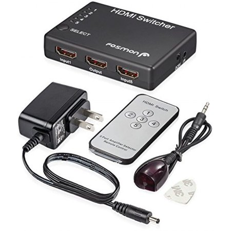Fosmon HD1832 Intelligent 5Port HDMI Switch with IR Remote and AC Adapter