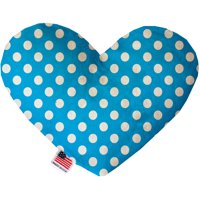 Aqua Blue Swiss Dots 8 Inch Heart Dog Toy