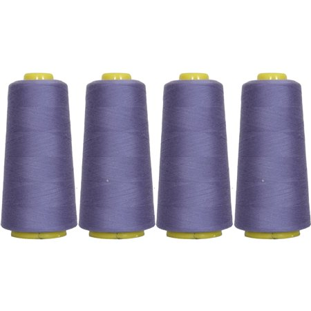 4 Cones Periwinkle Serger Sewing Thread, 2750 Yd Cones, TEX 27 40S/2, (Periwinkle Thread)