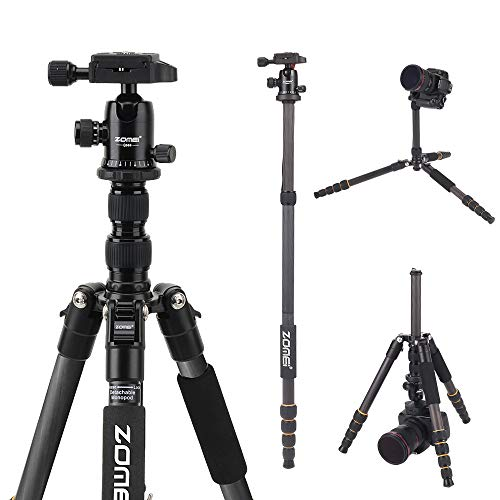 Carbon Fiber Travel Camera Tripod Monopod with 360 Degree BallHead For Camera Canon Nikon Sony Samsung Olumpus SLR Cameras