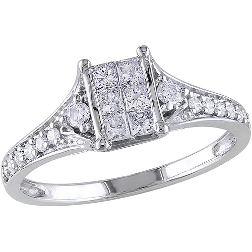 Miabella 1/2 Carat T.W. Princess-Cut Diamond Engagement Ring in 10kt White Gold
