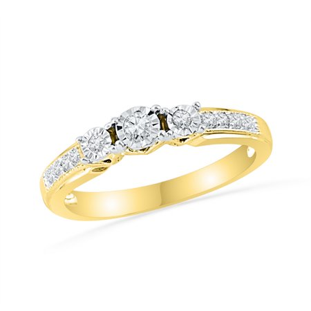Size - 7 - Solid 10k White and Yellow Two Toned Gold Round White Diamond Engagement Ring OR Fashion Band Prong Set 3 Stone Shaped Halo Ring (1/5 cttw) - Halo Three Stone