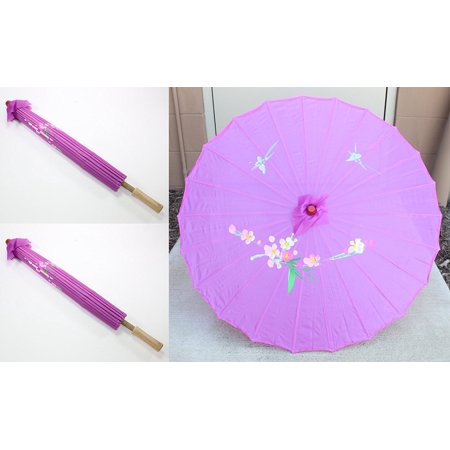 Pair 22 Inch tall Purple Floral Pattern Wood Bamboo Nylon Umbrella Parasol Backyard Decoration Gift